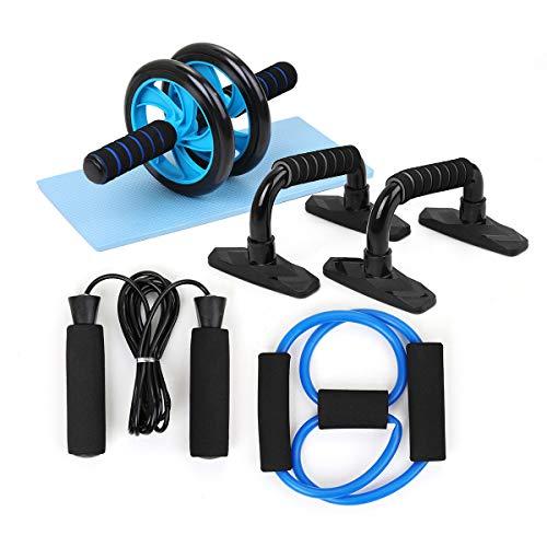 TOMSHOO Fitness Geräte, AB Roller Bauchtrainer und Rutschfester Kniematte Fitness Geräte für Zuhause -Tragbare Geräte für Heimtraining Muskelkraft Fitness (5-IN-1 Blau)