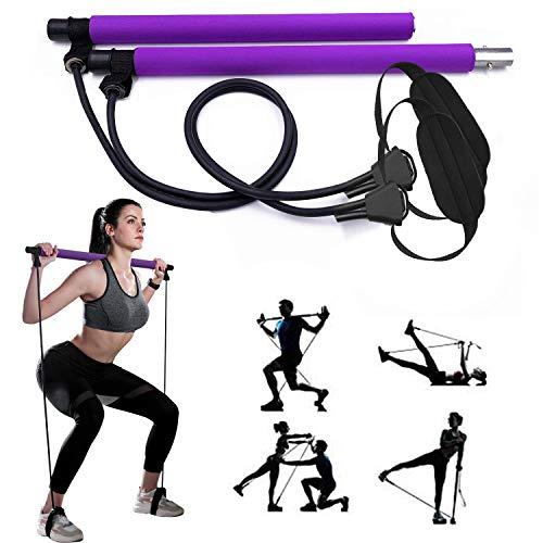 Pilates Bar, GIKERSY Pilates Stange Fitness Set mit Widerstandsband, Sportgeräte Zuhause, Fitnessgeräte für Zuhause, Home Training für Yoga, Fitness, Gewichtsverlust, Stretching, Shaping