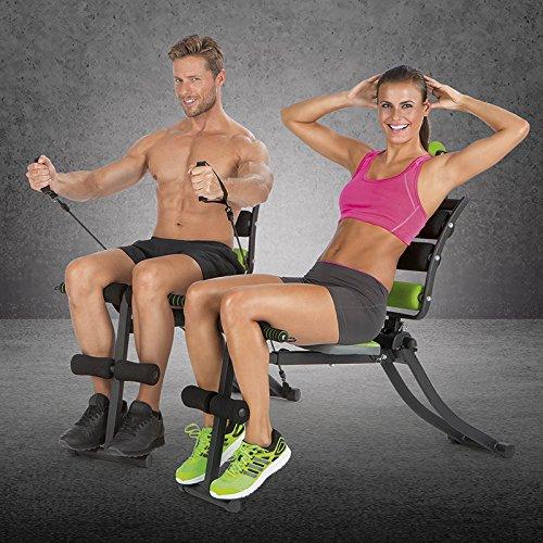VITALmaxx Swingmaxx Fitnesstrainer 6 in 1 | Trainiert Bauchmuskeln, Rücken, Bizeps, Trizeps & Schultern | Platzsparend Verstaubar | Schwarz-Grün